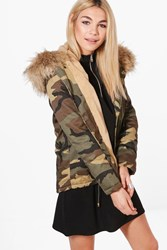 Boohoo Short Camo Faux Fur Lined Parka Natural