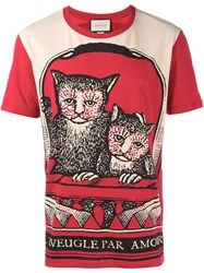 Gucci Cat Print T Shirt Red