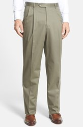 Men's Big And Tall Berle Pleated Cotton Trousers Olive