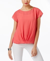 Inc International Concepts Twist Front T Shirt Only At Macy's Polished Coral