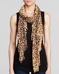 Aqua Animal Print Scarf 100 Exclusive Camel Brown Ivory