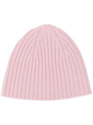 Pringle Of Scotland Ribbed Cashmere Beanie Pink