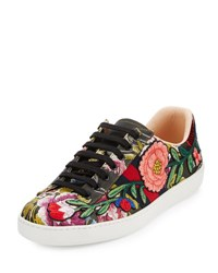 Gucci New Ace Men's Floral Leather Low Top Sneaker Black Black Pattern