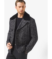 Herringbone Wool Tweed Peacoat