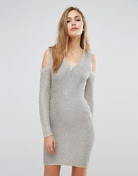 Wow Couture Long Sleeve Metallic Sweater Dress Gold