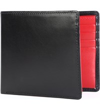 Launer Leather Billfold Wallet Black Red