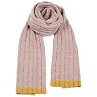 Cashmerism Hint Of Mustard Cable Knitted Scarf Multi