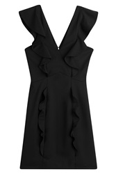 The Kooples Ruffled Wool Mini Dress Black