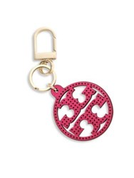 Tory Burch Perforated Leather Logo Keychain Hibiscus Navy