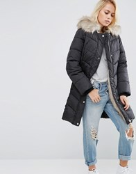 Asos Padded Jacket With Faux Fur And Hood Black