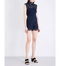 Sandro Floral Embroidered Lace Playsuit Navy Blue
