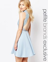 John Zack Petite Baroque Sequin Mesh Mini Skater With Backless Detail Pale Blue