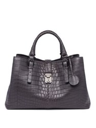 Bottega Veneta Roma Medium Soft Crocodile Satchel Rock Fume