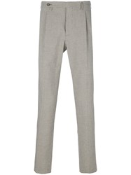Berwich Micro Houndstooth Check Trousers Nude And Neutrals