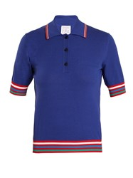Stella Jean Contrast Striped Knit Polo Shirt Blue