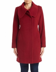 Anne Klein Oversized Collar Wool Blend Coat Red