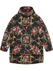 Gucci Padded Cape Coat With Flowers And Tassels Black