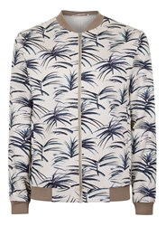 Topman Brown Stone Floral Print Smart Bomber Jacket