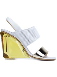 Monique Lhuillier Sling Back Chunky Heel Sandals White