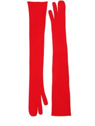 Maison Martin Margiela Long Rib Knit Gloves Red