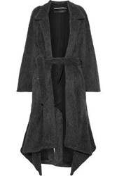 Roland Mouret Woman Belted Alpaca And Wool Blend Coat Anthracite