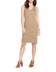 Lauren Ralph Lauren Cable Sweater Dress Cliff Tan