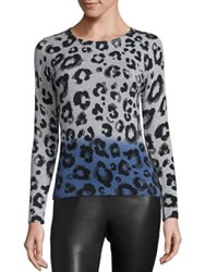 Saks Fifth Avenue Cashmere Two Tone Leopard Print Sweater Navy Combo