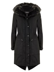 Mint Velvet Waxed Parka Black