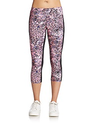 Calvin Klein Abstract Print Paneled Performance Leggings Posey Combo