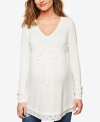 Motherhood Maternity Babydoll Sweater Off White