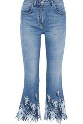 Versus By Versace Woman Distressed Printed Low Rise Kick Flare Jeans Mid Denim