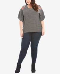 Eyeshadow Trendy Plus Size Embroidered T Shirt Black