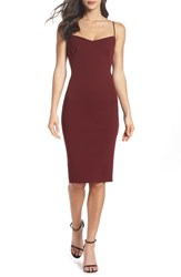 Katie May Fitted Drape Back Crepe Dress Burgundy