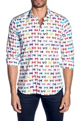 Jared Lang Trim Fit Sport Shirt White Bow Print