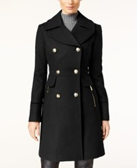 Vince Camuto Double Breasted Military Coat Black
