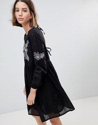 People Tree Smock Dress With Embroidery Black