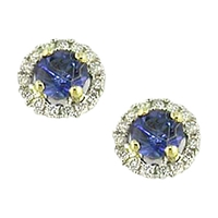 Ewa 18Ct White Gold Diamond Sapphire Claw Set Cluster Earrings Blue