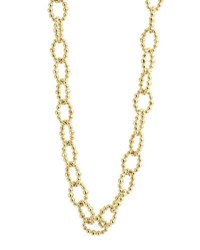Lagos Caviar Large Fluted Oval Link Necklace