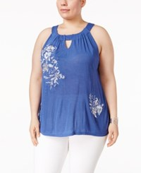 Inc International Concepts Plus Size Embroidered Halter Top Only At Macy's Sail Blue