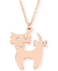 Betsey Johnson Rose Gold Tone Crystal Cat Pendant Necklace