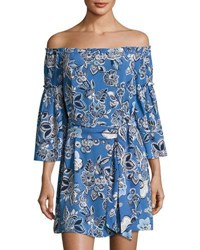 Laundry By Shelli Segal Floral Print Off The Shoulder Belted Dress Blue Pattern