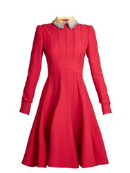 Valentino Embellished Collar Wool And Silk Blend Dress Pink
