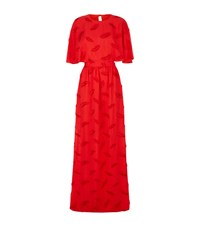 Emilio Pucci Feather Cape Gown Female Red