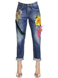 Dolce And Gabbana Embroidered Cotton Denim Jeans
