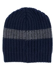 Brunello Cucinelli Striped Beanie Blue