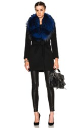 Theperfext Fwrd Exclusive Vanessa Coat With Fox Fur Collar In Black