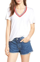 Project Social T Noah Banded V Neck Tee White