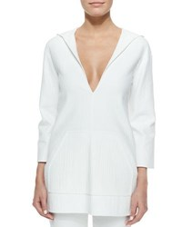 Michael Kors Hooded Deep V Neck Tunic Optic White