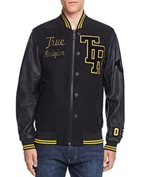 True Religion Collegiate Moleskin Letter Jacket Black