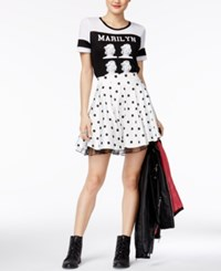 City Studios Juniors' Polka Dot Skater Skirt Black White